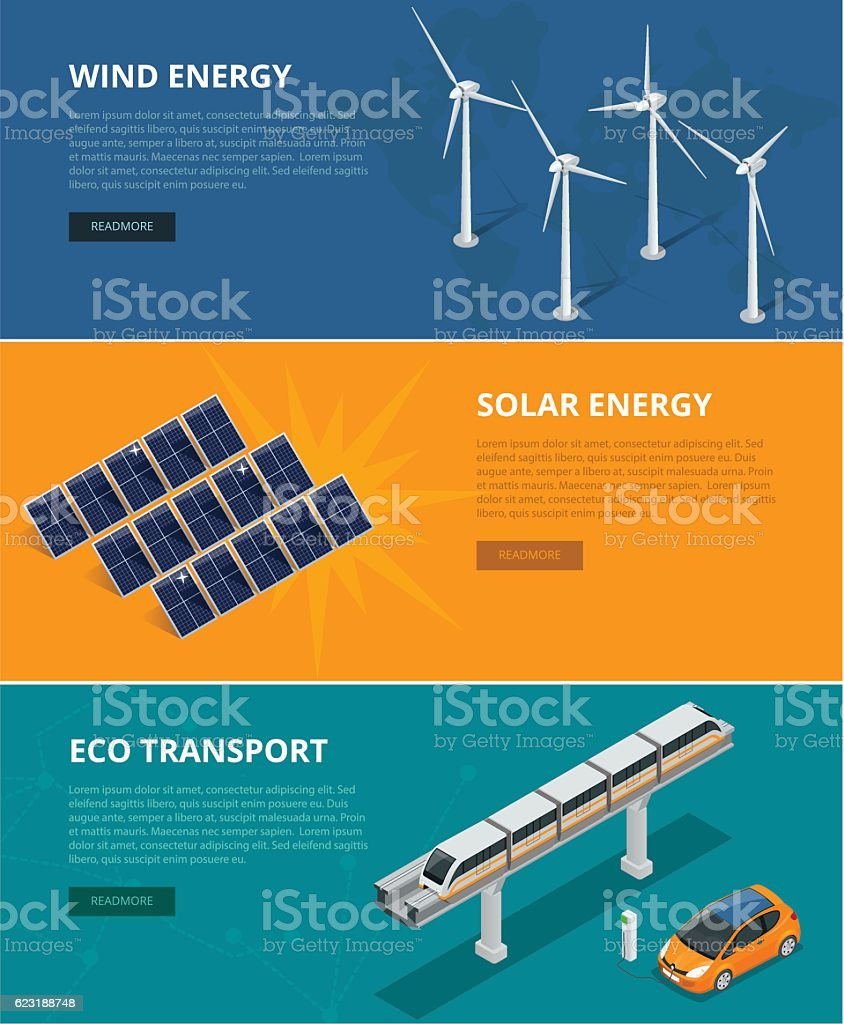Web backgrounds eco power sources such as wind turbines vector art illustration