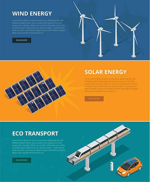 stockillustraties, clipart, cartoons en iconen met web backgrounds eco power sources such as wind turbines - windmolen