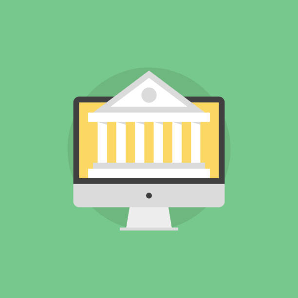 Web banking flat icon illustration Online banking technology, computer monitor with bank building on a screen, financial service via internet access. Flat icon modern design style vector illustration concept. government stock illustrations