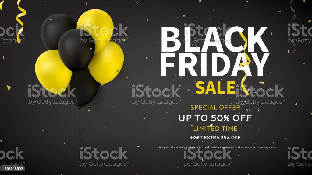 Web Banner Design for Black Friday Sale vector art illustration