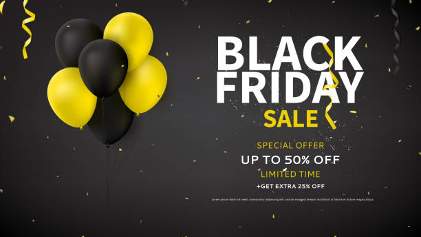 Web Banner Design for Black Friday Sale Dark Background with Yellow and Black Balloons for Seasonal Discount Offer. Promo Vector Illustration with Confetti and Serpentine. black friday sale background stock illustrations