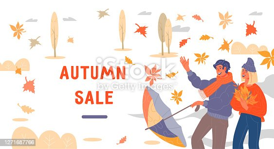 istock Web banner for autumn season sale or discount flat vector illustration. 1271687766