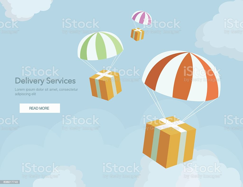 Web banner for Delivery Services and E-Commerce. Packages are flying vector art illustration