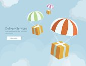 Web banner for Delivery Services and E-Commerce. Packages are flying