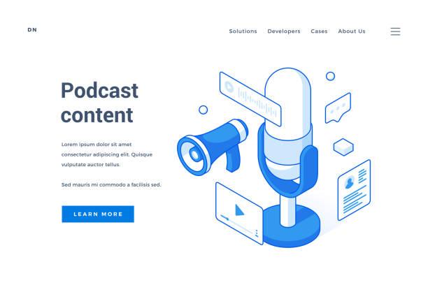 stockillustraties, clipart, cartoons en iconen met webbanner voor interessante reclame voor podcast-inhoud - podcast
