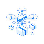 3d isometric vector illustration of modern drone flying with package representing fast delivery service for trade industry isolated on white background