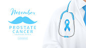 Web banner for Prostate cancer awareness month. Doctor with blue satin ribbon and stethoscope on white background. Men healthcare concept. Vector illustration.