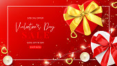 Web banner for Valentine's Day sale. Vector illustration with realistic gift boxes, candles, sparkling light garland, gold hearts and confetti on red background. Promo discount banner.