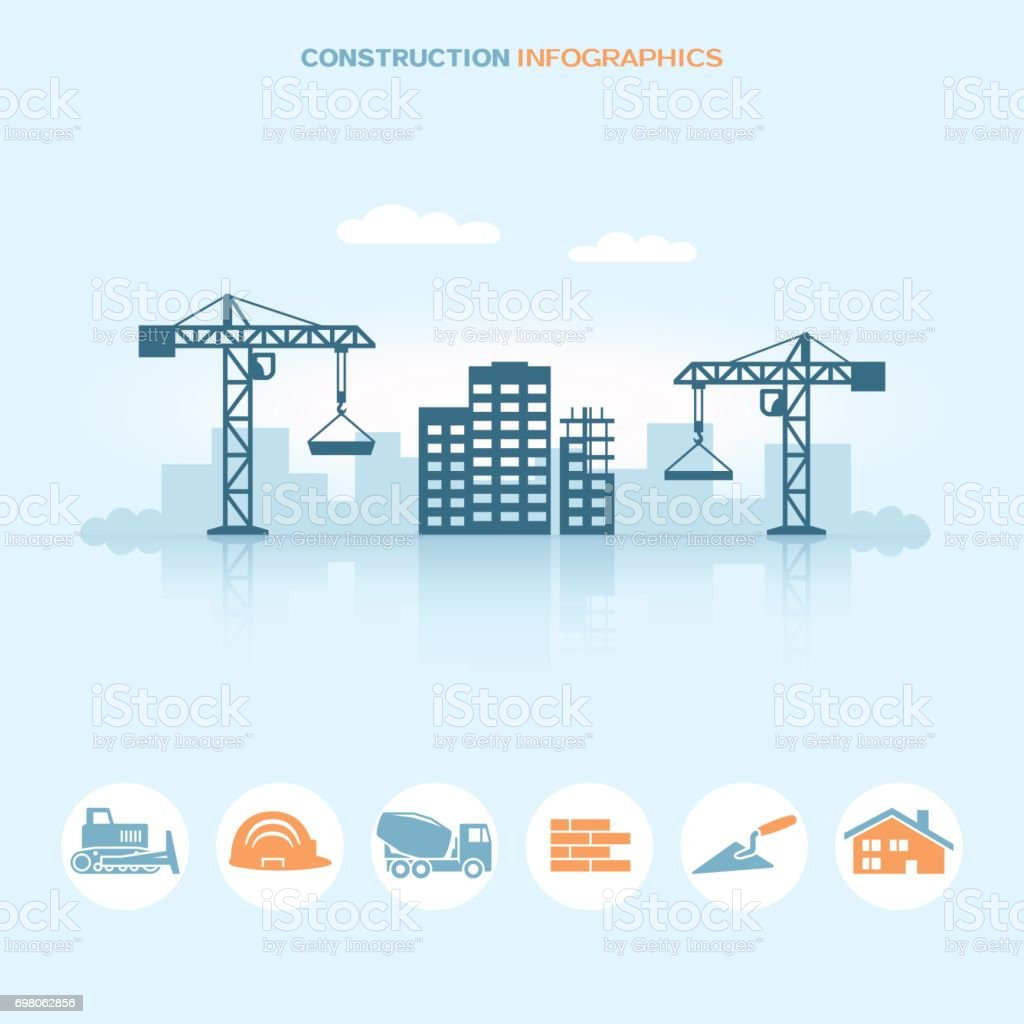 Web banner infographic design with construction site icons vector art illustration