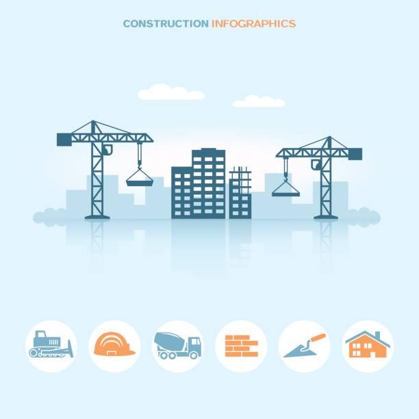 ilustrações, clipart, desenhos animados e ícones de web design de infográfico de bandeira com ícones do local de construção - infográficos de site