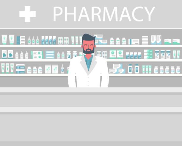 illustrazioni stock, clip art, cartoni animati e icone di tendenza di striscione web di un farmacista. giovane sul posto di lavoro in farmacia - farmacia