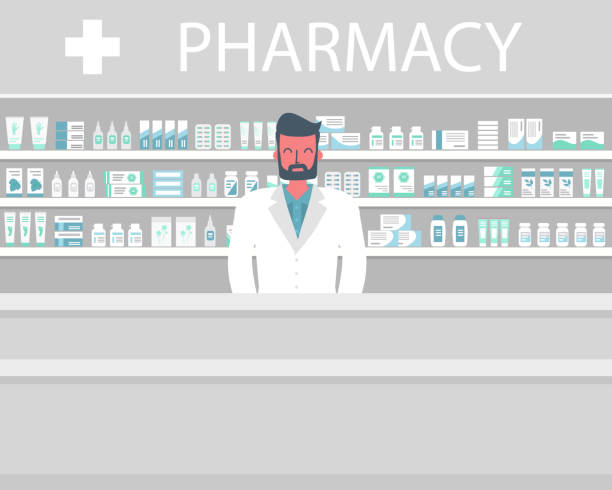 Web banner of a pharmacist. Young man in the workplace in a pharmacy Web banner of a pharmacist. Young man in the workplace in a pharmacy: standing in front of shelves with medicines. Flat and funky style. Vector illustration pharmacy stock illustrations