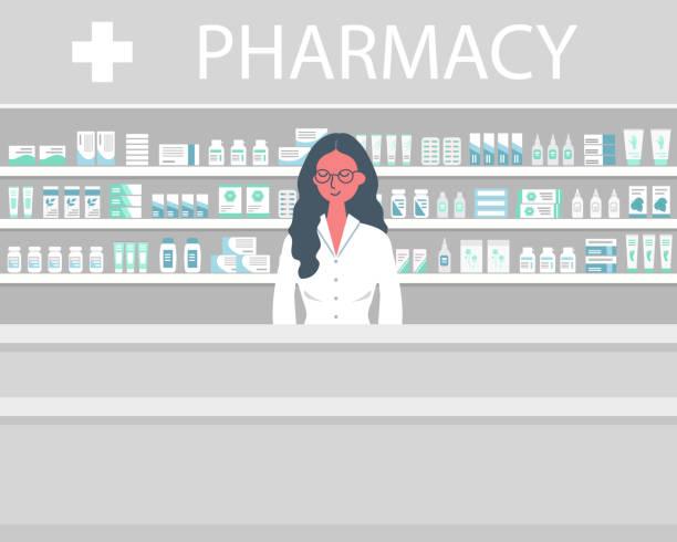 illustrazioni stock, clip art, cartoni animati e icone di tendenza di banner web di un farmacista. giovane donna sul posto di lavoro in farmacia - farmacia