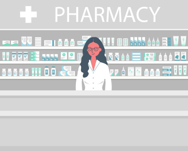 Web banner of a pharmacist. Young woman in the workplace in a pharmacy vector art illustration