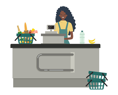 Web banner of a supermarket cashier. The young black woman is standing near the cash register