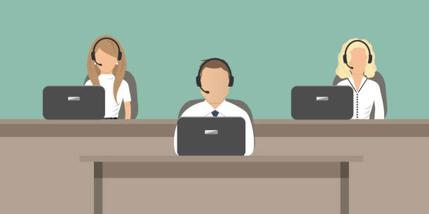Web banner of call center workers Web banner of call center workers. Young man and women in headphones sitting at the tables on a green background. People icons. Vector illustration. call centre illustrations stock illustrations