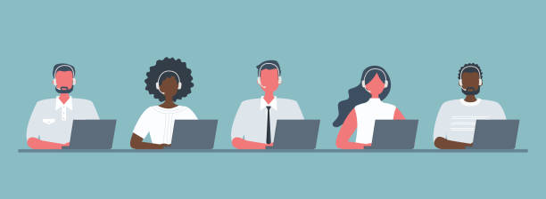 Web banner of call center workers Web banner of call center workers. Young men and women in headphones sitting at the table on a blue background. People icons. Funky flat style. Vector illustration call centre illustrations stock illustrations