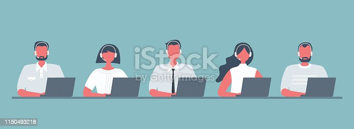 Web banner of call center workers. Young men and women in headphones sitting at the table on a blue background. People icons. Funky flat style. Vector illustration.