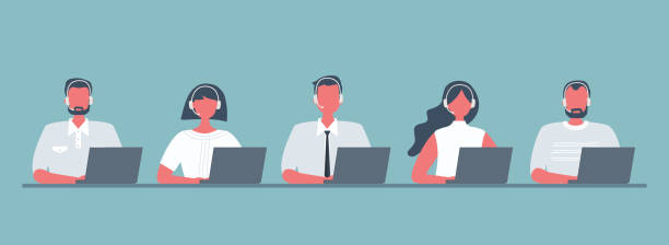 Web banner of call center workers Web banner of call center workers. Young men and women in headphones sitting at the table on a blue background. People icons. Funky flat style. Vector illustration. call centre illustrations stock illustrations