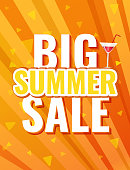 Summer bright orange background with text - Big sale summer.  Vector illustration summer background for Your discount. the sun's rays on an orange background.