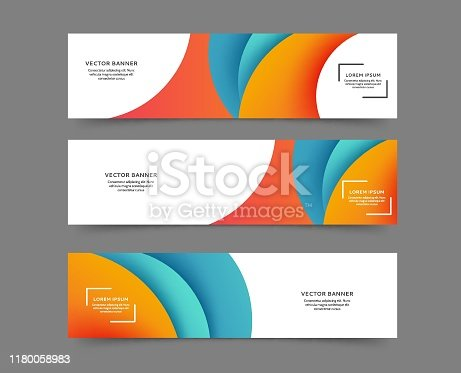 Set of web banner templates with abstract lines and waves