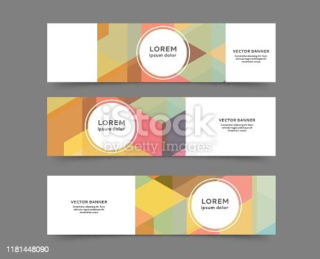 Set of abstract web banner templates with geometric elements background
