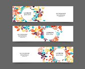 Set of abstract web banner templates with floral background