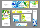 Set of abstract web banner templates for your site or blog with floral background. Different sizes