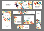 Set of abstract web banner templates with floral background. Different sizes