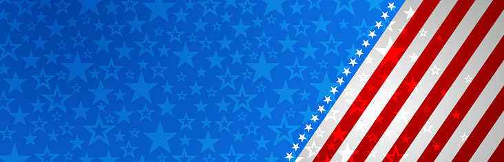 Web banner with elements of the American national flag, red and blue stars. Decorative USA banner suitable for background, headers, posters, cards, website. Vector illustration