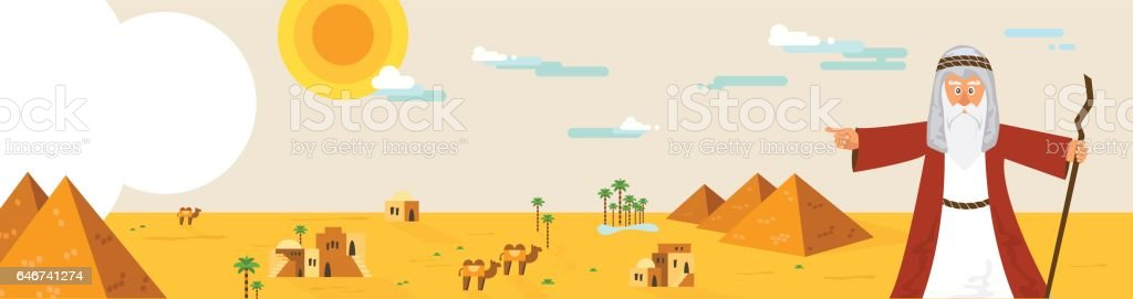 Web banner with Moses from Passover story and Egypt landscape . abstract design vector illustration vector art illustration