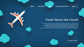 Web banner with plane in paper cut style. Vector illustration for airlines company.