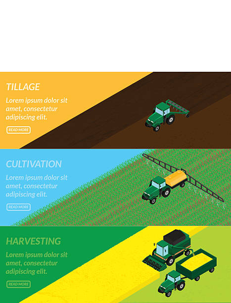 Web banners agriculture. vector illustration. Web banners agriculture. tractor tills the field, plowing, sprays insecticide. Harvester gathers the wheat crop. isometric, infographics, 3D corn crop stock illustrations
