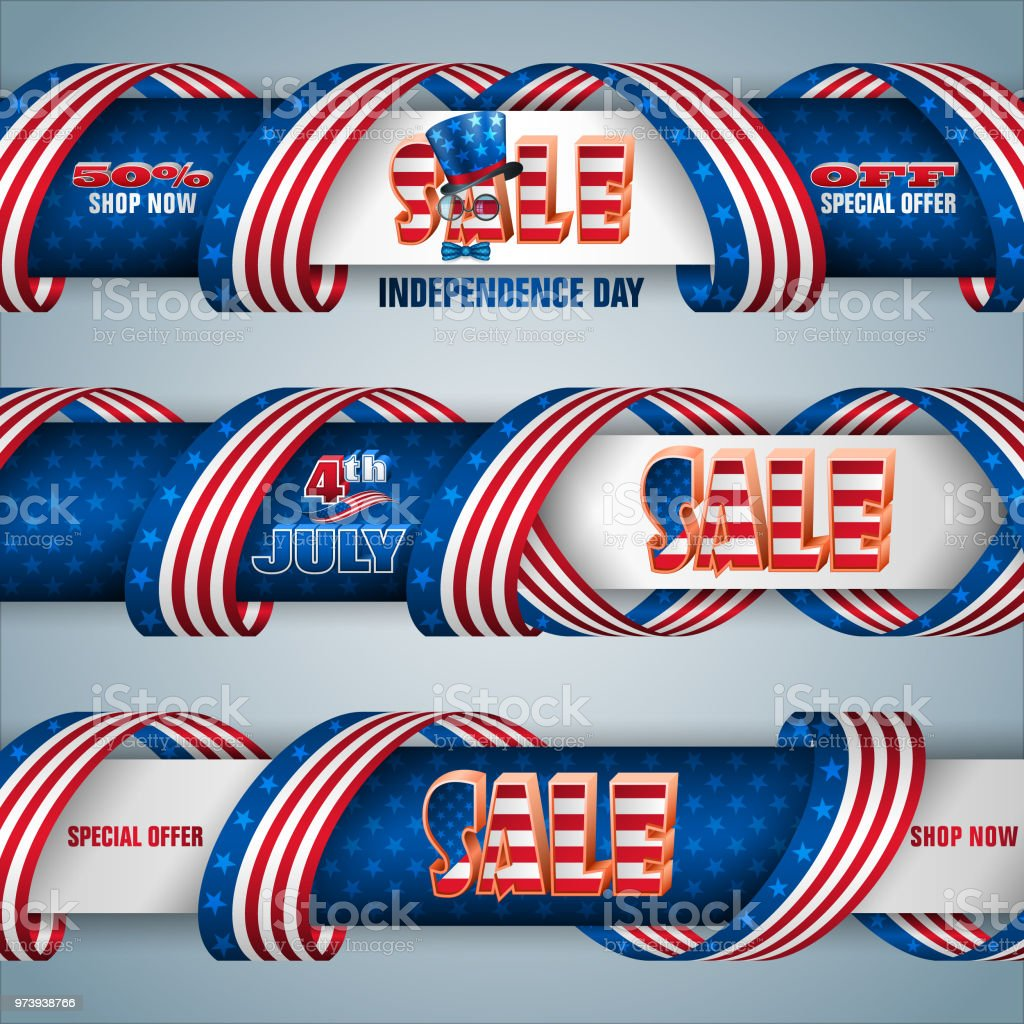 Web banners for United States, Independence day sales, commercial event vector art illustration