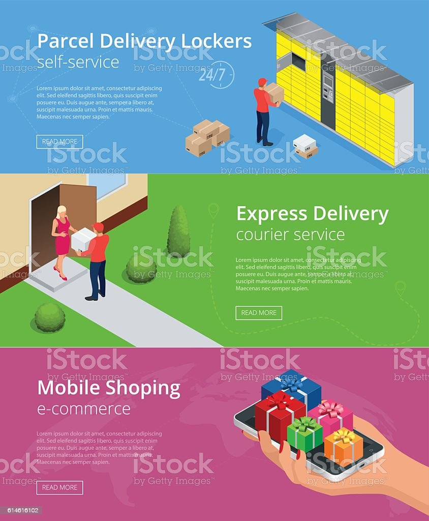 Web banners. Isometric Parcel Delivery Lockers vector art illustration
