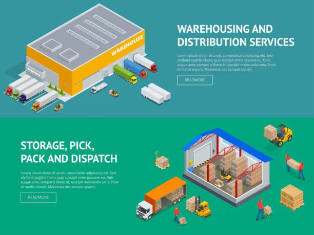 web ambar hizmet ve depolama, çekme, paketi ve hükmü afiş. i̇zometrik vektör çizim - warehouse stock illustrations