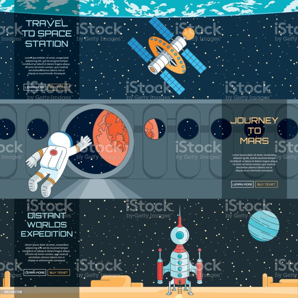 Web banners set on the theme of space vector art illustration