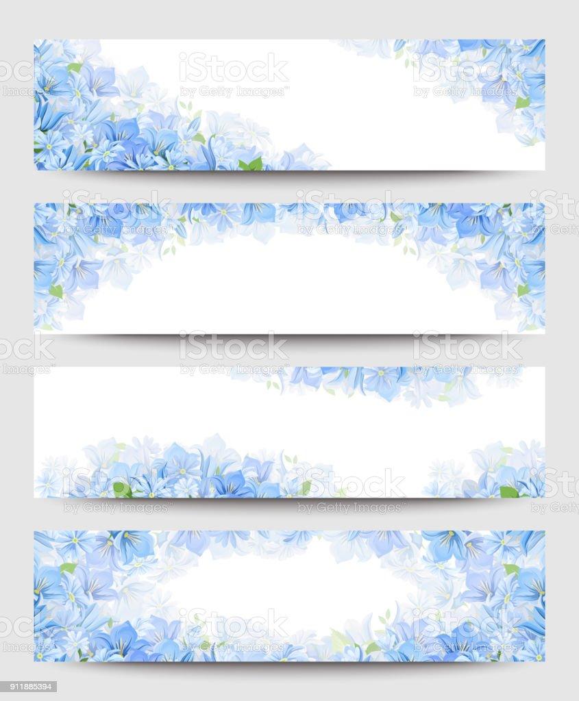 青い花と web バナー。ベクター eps-10。 ベクターアートイラスト