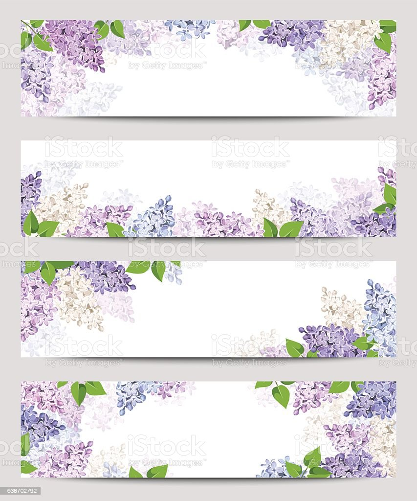 Web banners with lilac flowers. Vector eps-10. vector art illustration