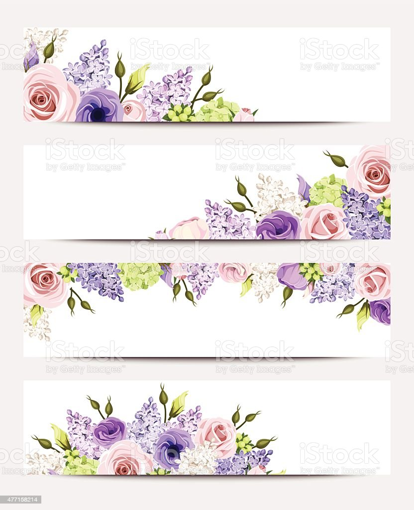 Web banners with pink, purple and white flowers. Vector eps-10. vector art illustration