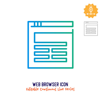Web Browser Continuous Line Editable Icon