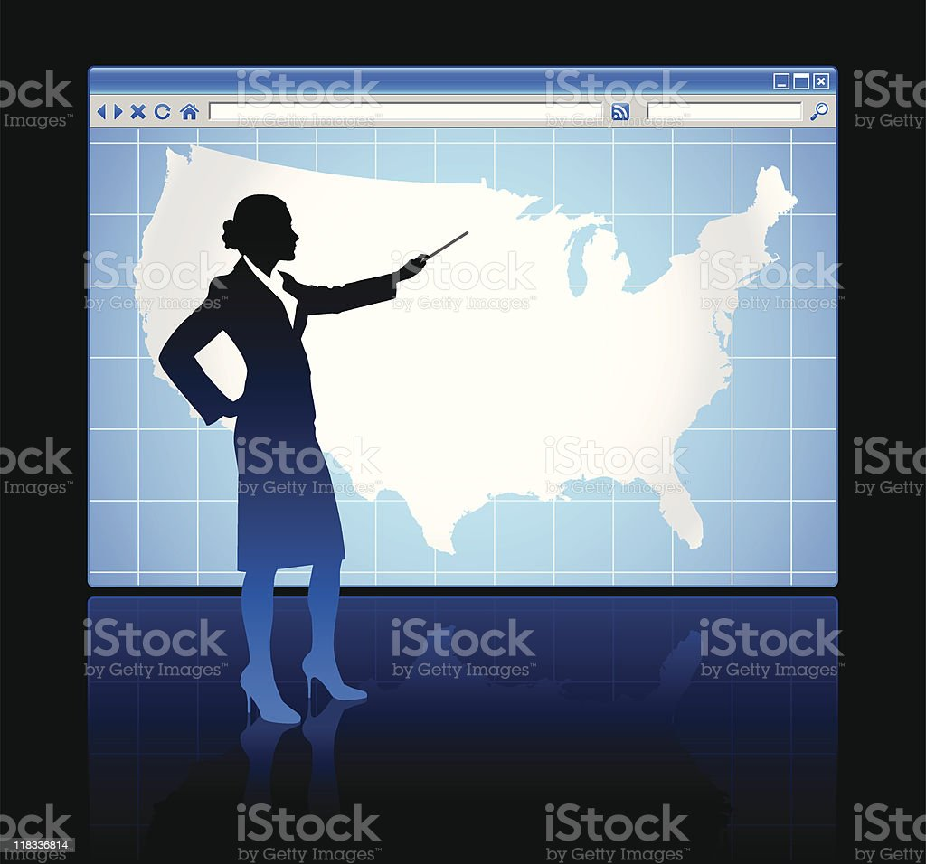 Web browser internet concept with US map royalty-free stock vector art