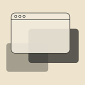 Vector illustration of a web browser in a vintage style. Design element great for internet and technology ideas and concepts, social media platforms, online messaging, presentations and marketing, mobile apps, user interface designs and communications.