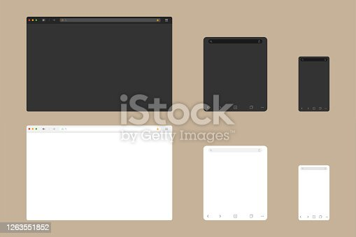 Web browser window mockup in light and dark modern flat design. Website page of computer with green lock and favorites icon. Desktop, tablet and mobile template of browser. Vector EPS 10