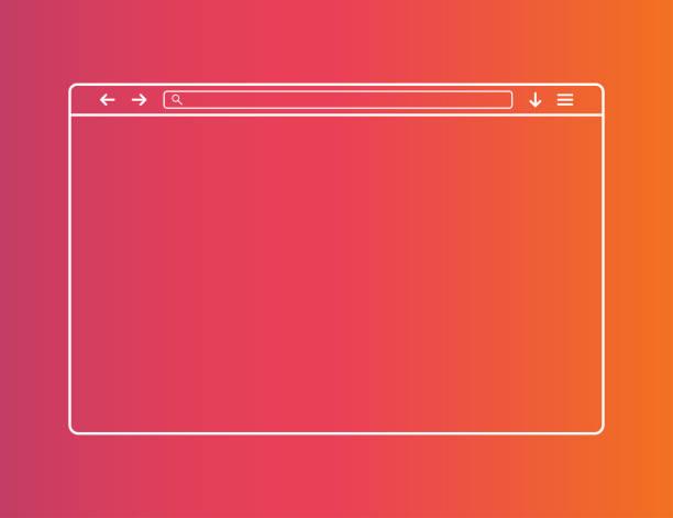 ilustrações de stock, clip art, desenhos animados e ícones de web browser window. template of website interface. social media style of outline browser. mockup of web window in simple linear design. search bar with loupe and arrows. vector eps 10. - computer