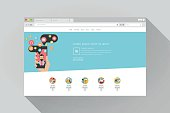 Web browser with website, editable vector format.