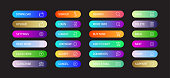 Web Button Design with Icons Color Gradient Style for Web Page, Mobile App and User Interface Design