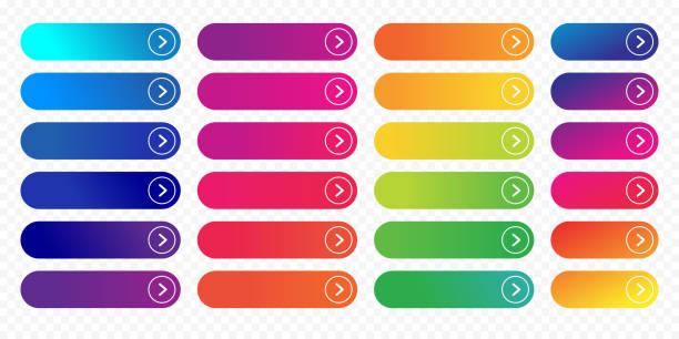 web button flat design template next icon color gradient outline vector isolated - цветовой градиент stock illustrations