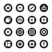 Web Button Icons - Black Circle Series
