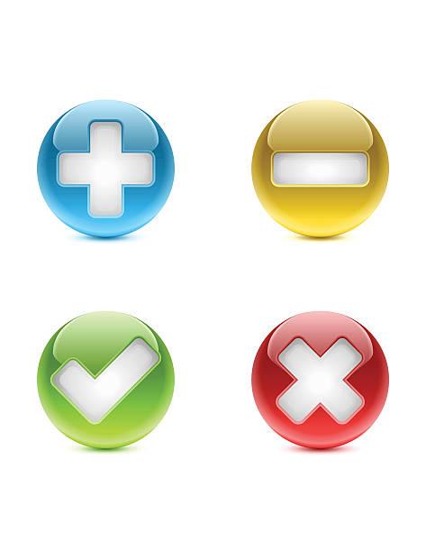 illustrazioni stock, clip art, cartoni animati e icone di tendenza di web/pulsanti aggiungi, elimina il, approvato, rifiutato - segno meno
